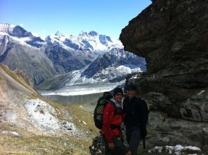 At the top of the Col du Reidmatten, looking toward Zermatt.